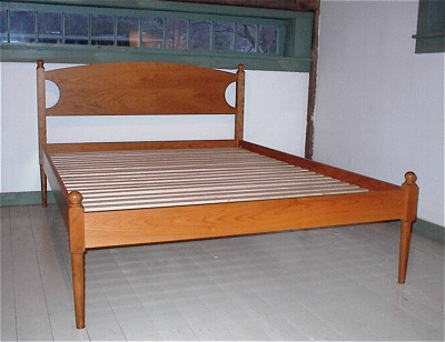 Low post four poster bed in solid cherry maple or mahogany for Shaker bed plans
