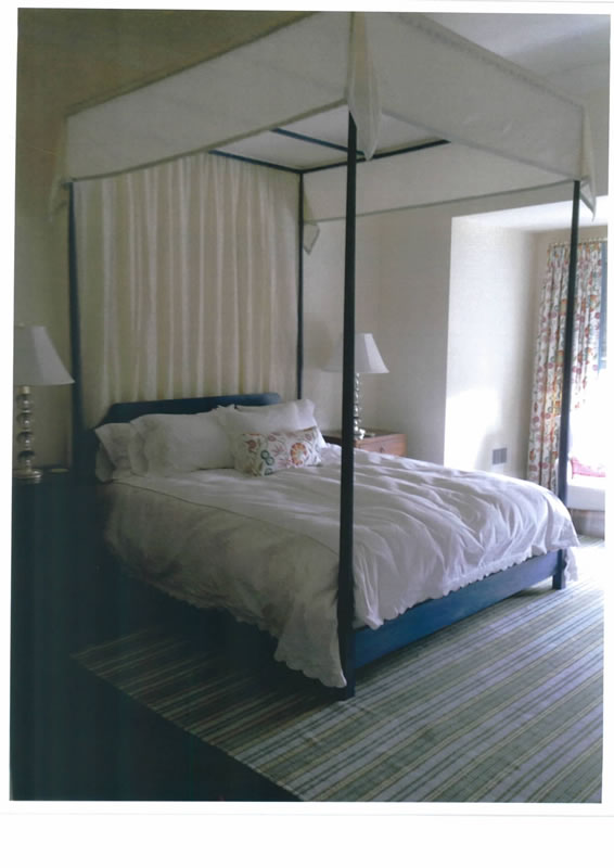 ... Custom queen size pencil post bed with extra tall posts & blue stained  finish ...