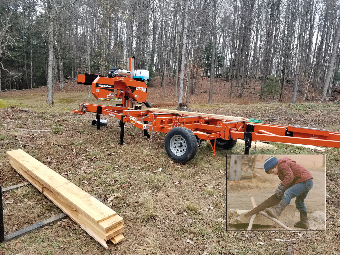 New Woodmizer sawmill at Richard Bissell Fine Woodworking
