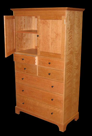 7 drawer Shaker bureau with cabinet. Shaker 6 Drawer Double Bureau with Mitered Base   Shaker Furniture