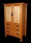 Tiger maple door panels in mission TV Armoire