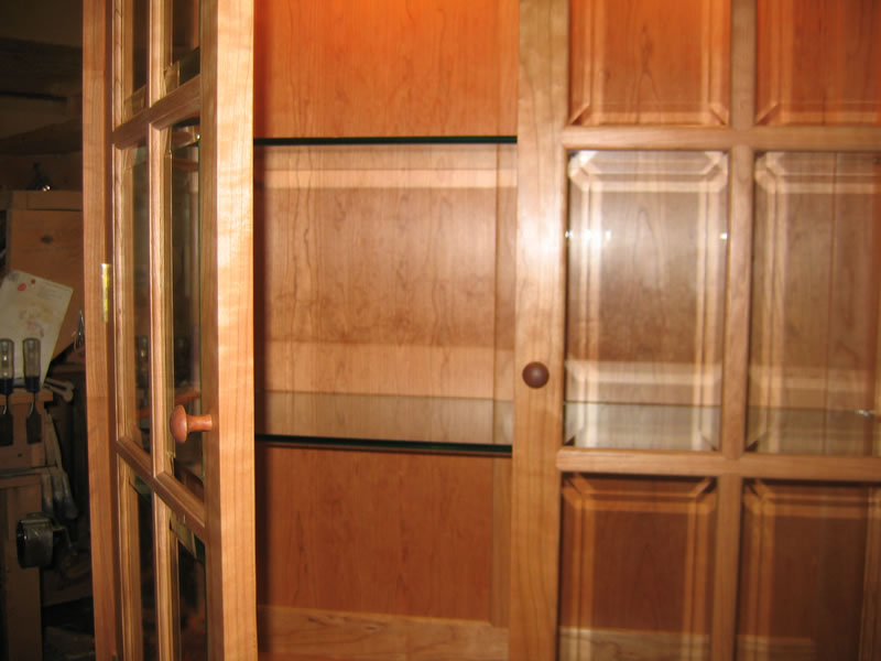China Cabinet with Beveled Glass Doors and Sidelights : Handmade ...