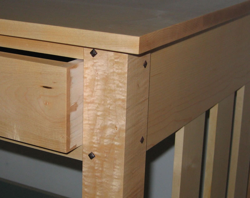 Dovetailed Drawer And Pyramid Head Walnut Pegs In Maple Desk