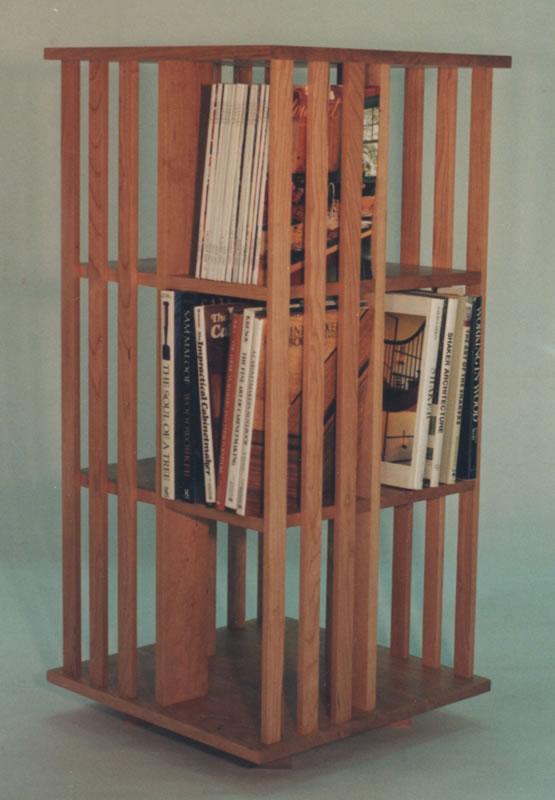 3 shelf revolving bookcase in cherry. - Mission Inspired Revolving Bookcase : Handmade Furniture : Mission
