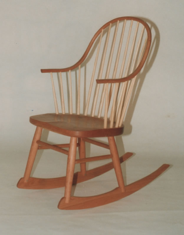 Continuous Arm Rocking Chair   Cherry With Ash Spindles