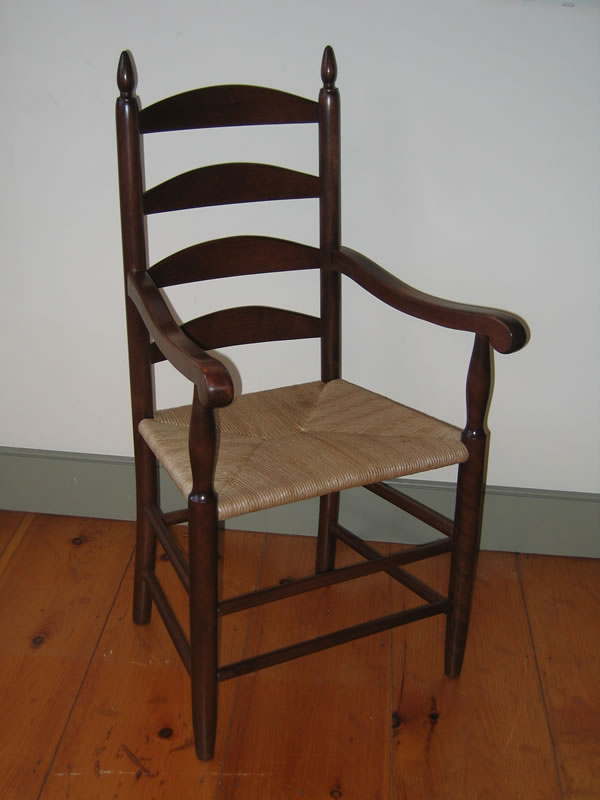 Genial Shaker Ladder Back Arm Chair With Vintage Cherry Finish