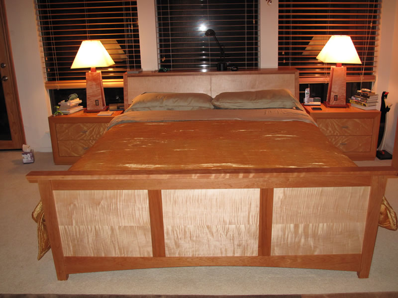 ... Cherry & curly maple custom king size bed with bookcase headboard ...
