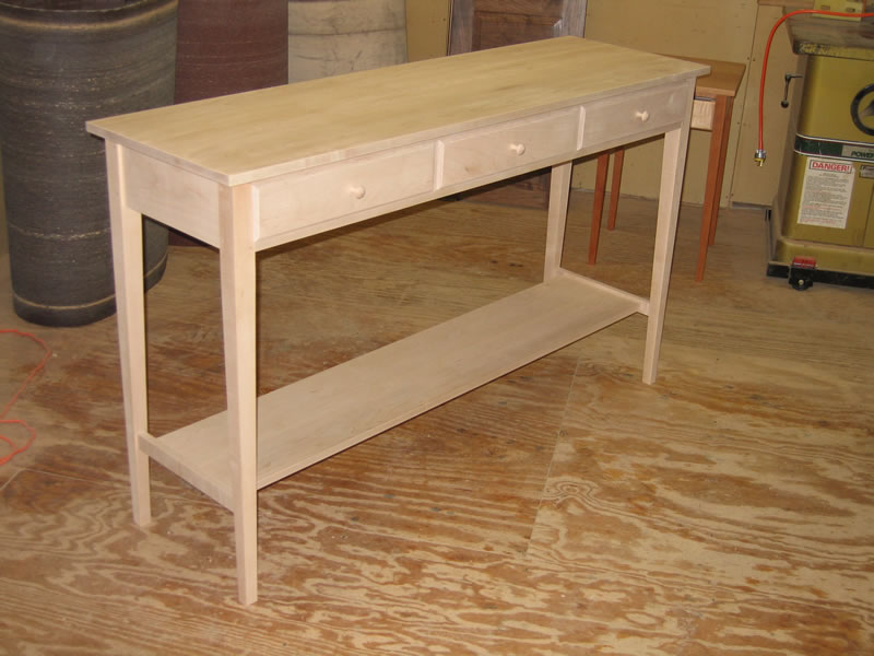 ... Custom Hall Table   3 Drawers U0026 Shelf   In Maple ...