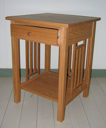 Oak mission night table with drawer & shelf