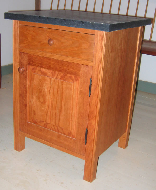 Charming Cherry Night Table With Drawer And Cabinet