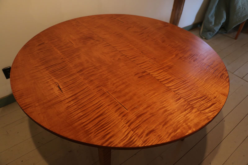 Custom 48 Diameter Extension Table Curly Maple With Aged Finish