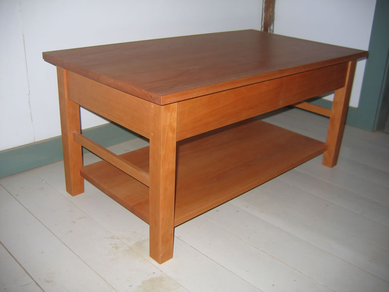 Shaker Coffee Table with 2 Drawers and Shelf Shaker Furniture